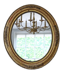 Antique 19th Century Victorian oval gilt wall mirror