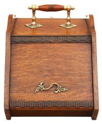 Antique C1920 oak and brass coal scuttle box perdonium