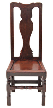 Antique 17C 18C high back oak hall side dining chair