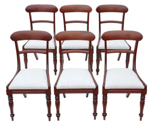 Antique quality set of 6 Regency C1820-1840 mahogany bar back dining chairs