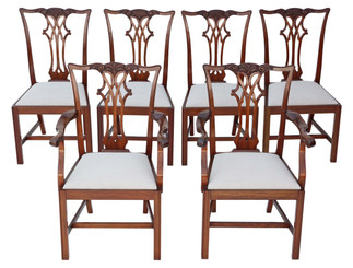 Antique set of 6 (4+2) mahogany Georgian Chippendale style dining chairs