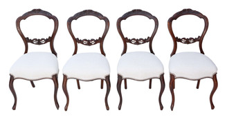 Antique set of 4 Victorian walnut balloon back dining chairs C1870