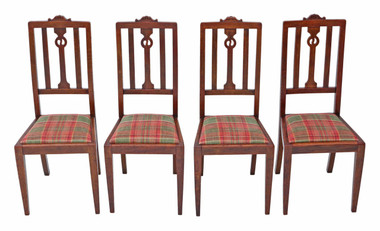 Antique quality set of 4 Art Nouveau oak dining chairs