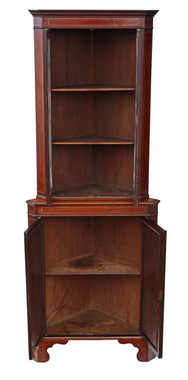 Antique Edwardian C1900-1910 inlaid mahogany corner display cabinet
