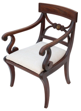 Antique quality Regency C1825 mahogany elbow desk carver chair