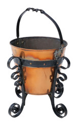 Antique Early 20C iron and brass coal scuttle bucket