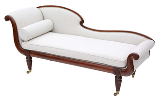 Antique quality Regency C1825 mahogany scroll arm sofa chaise longue