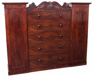 Antique large 19C Regency mahogany compactum wardrobe armoire