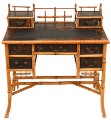 Antique quality late Victorian Chinoiserie bamboo desk or dressing table