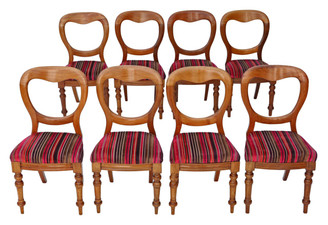 Antique set of 8 Victorian light mahogany balloon back dining chairs C1890