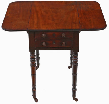 Antique quality Regency C1825 mahogany two drawer drop leaf work table