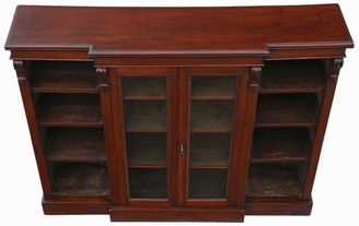 Antique late Victorian C1890 oak breakfront part glazed bookcase