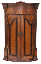 Antique quality Georgian C1760 inlaid crossbanded oak corner cupboard