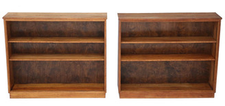 Antique pair of quality adjustable oak open bookcases C1950