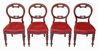 Antique set of 4 William IV C1835 mahogany balloon back dining chairs