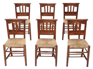 Antique set of 6 Victorian C1900 beech & ash chapel kitchen dining chairs