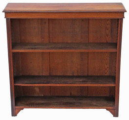 Antique Victorian adjustable walnut open bookcase C1900