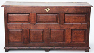 Antique large 18C Georgian oak coffer mule chest log basket