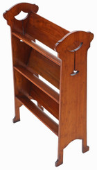 Antique quality Art Nouveau walnut book trough or bookcase C1910