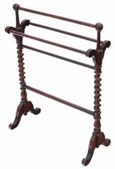 Antique quality Victorian C1880 mahogany towel rail stand