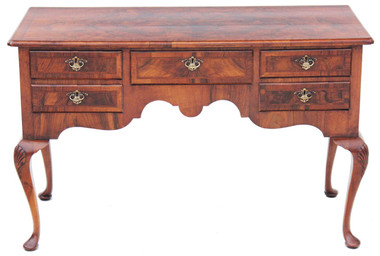 Antique 19C Georgian burr walnut desk writing table dressing