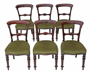 Antique quality set of 6 Victorian mahogany balloon back dining chairs C1890