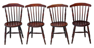 Antique set of 4 Victorian Penny Windsor kitchen dining chairs C1890