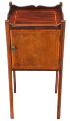Antique Georgian revival C1905 mahogany tray top bedside table cupboard