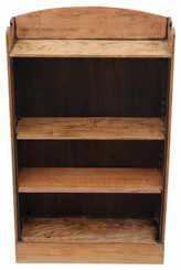 Antique adjustable oak open bookcase C1925