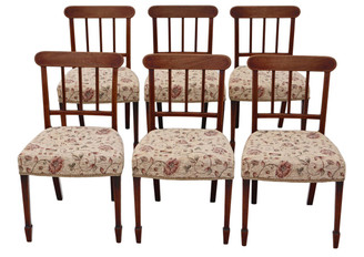 Antique quality set of 6 Victorian C1850 mahogany dining chairs