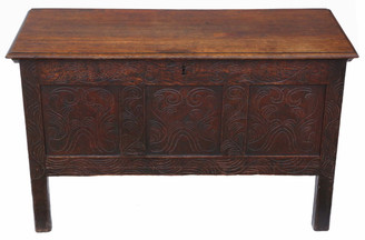 Antique 18th Century Georgian carved oak coffer or mule chest