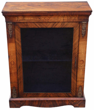 Antique quality inlaid burr walnut pier display cabinet C1880