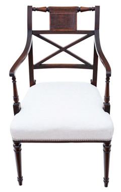 Antique fine quality Regency C1825 mahogany elbow desk carver chair