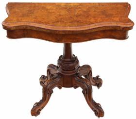 Antique quality Victorian C1870 burr walnut serpentine folding card table