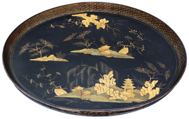 Antique quality Victorian Chinoiserie black lacquer serving tray