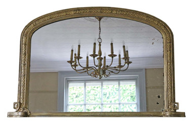 Antique Victorian gilt wall mirror or overmantle C1880