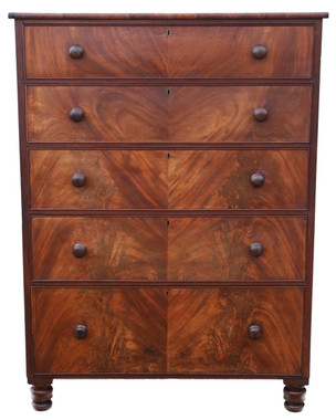 Antique large quality Regency William IV mahogany tallboy chest of drawers