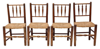 Antique set of 4 Georgian elm kitchen dining chairs C1800