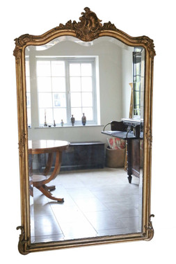 Antique large quality French gilt wall mirror A. Broquart C1900 ~ 4' x 6'