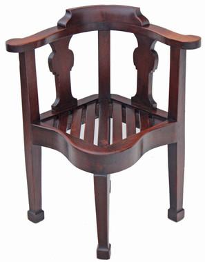 Antique 19C oak corner chair desk armchair hall