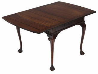 Antique mahogany drawer leaf extending dining table C1925