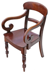 Antique quality Early Victorian C1860 fruitwood elbow desk chair