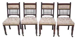 Antique set of 4 Victorian walnut dining chairs C1895