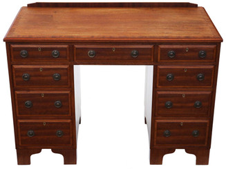 Antique quality mahogany twin pedestal desk C1925