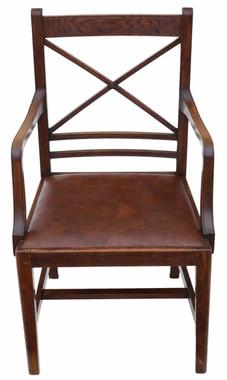 Antique quality oak georgian revival desk arm elbow chair C1910