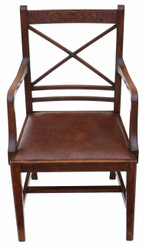 Antique quality oak georgian revival desk arm elbow chair C1910