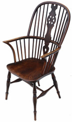 Antique Victorian C1840 ash & elm Windsor chair dining armchair