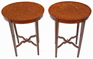 Antique pair of Edwardian C1905 parquetry side occasional tables wine lamp