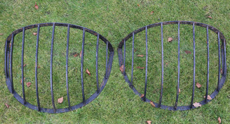 Antique pair of wrought iron horse hay feeders