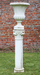 Large classical antique cast stone planter urn on plinth column pedestal